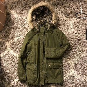 Banana Republic Green Puffer Coat with Faux Fur